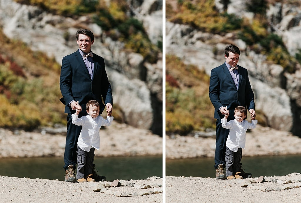 Groom with his son waiting for bride to walk up the trail