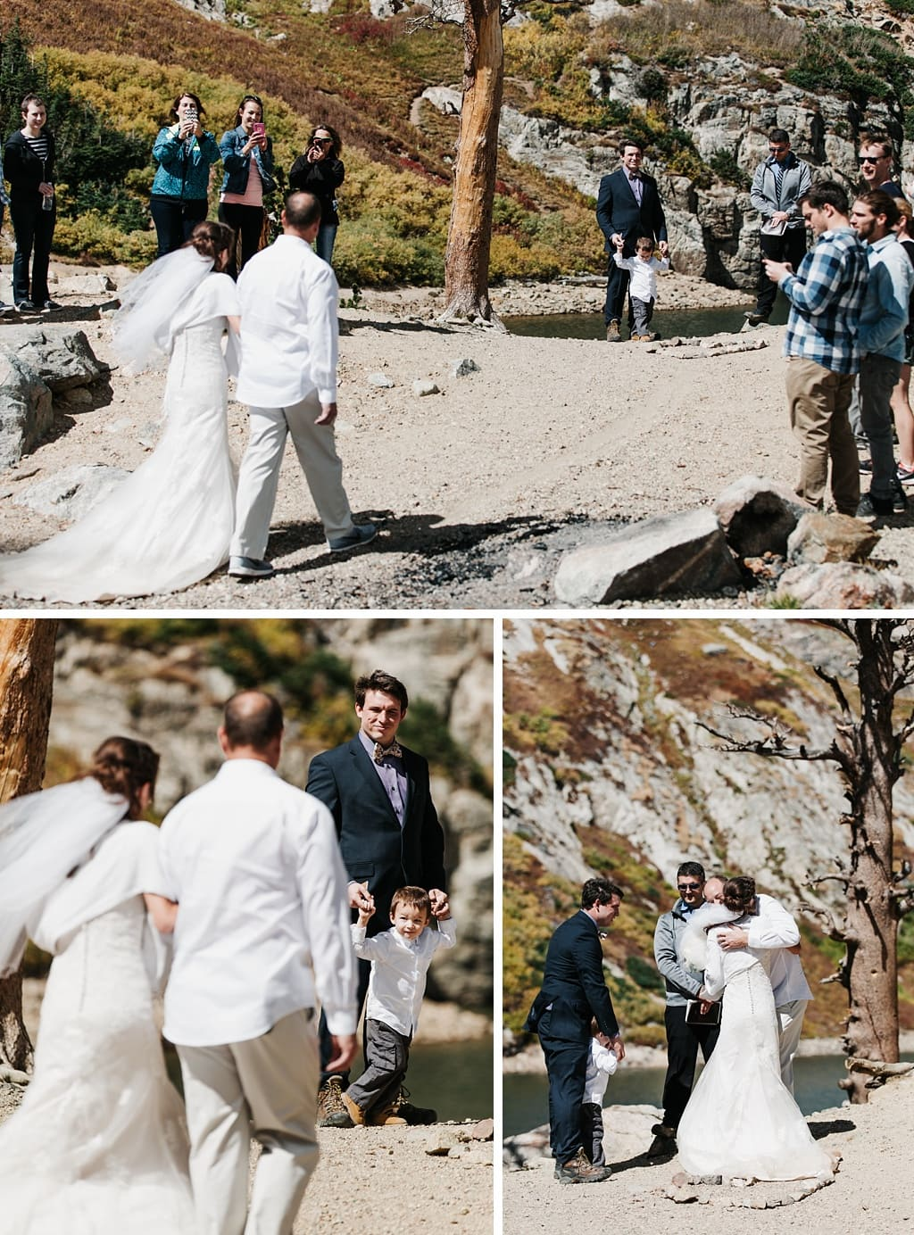 Bride walking down the trail with her father to where groom is waiting