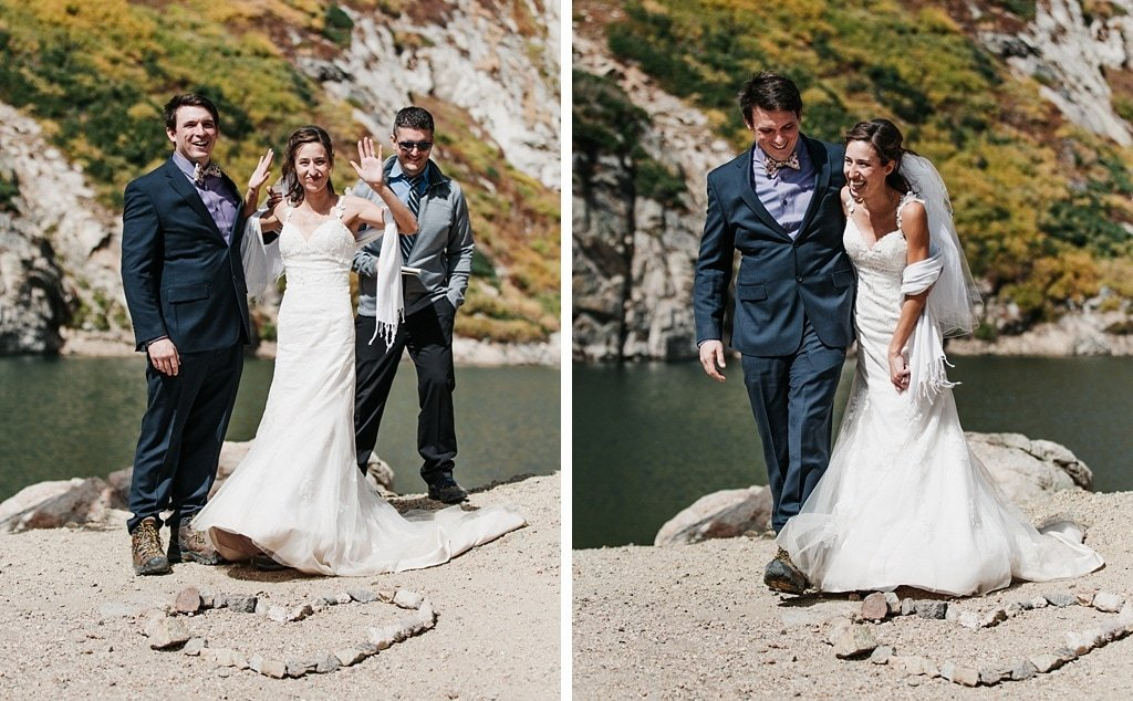 Bride and groom announcement at St. Mary's Glacier elopement hiking wedding Colorado