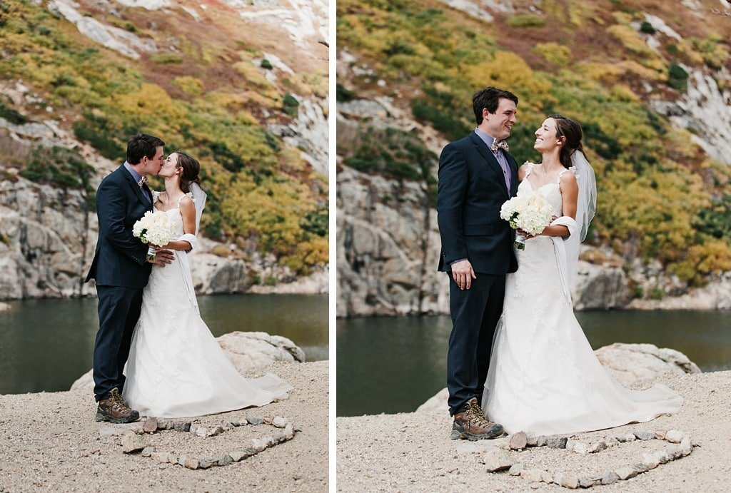 Colorado hiking wedding ceremony bride and groom portraits