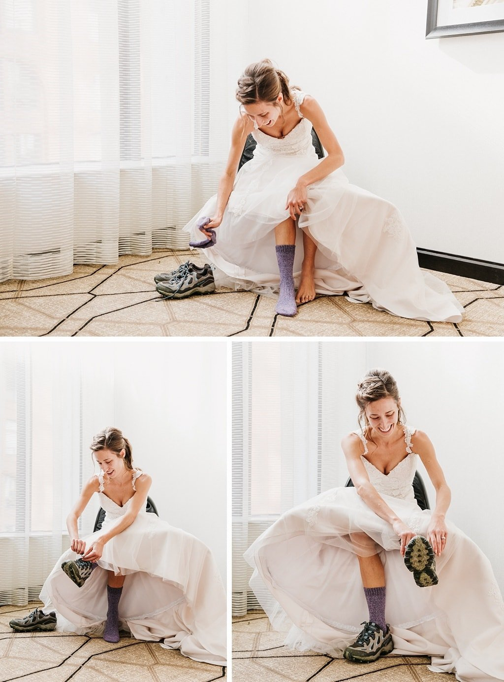 Bride putting on hiking boots for wedding
