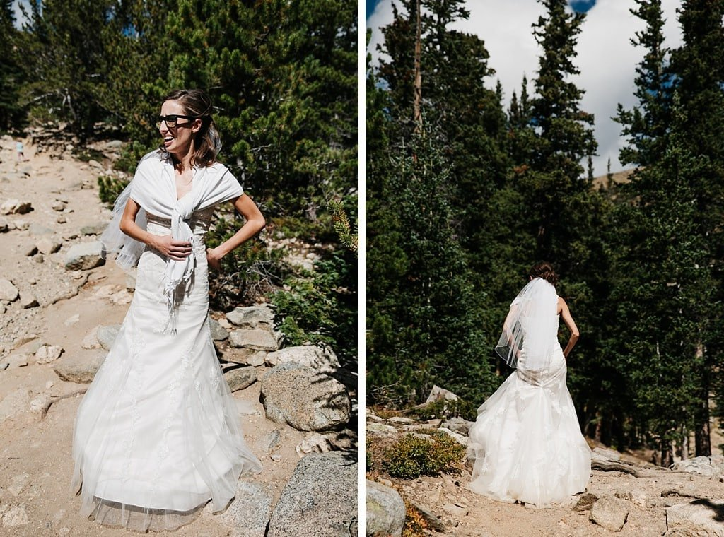 Bride hiking in the woods on her way to her St. Mary's Glacier elopement wedding