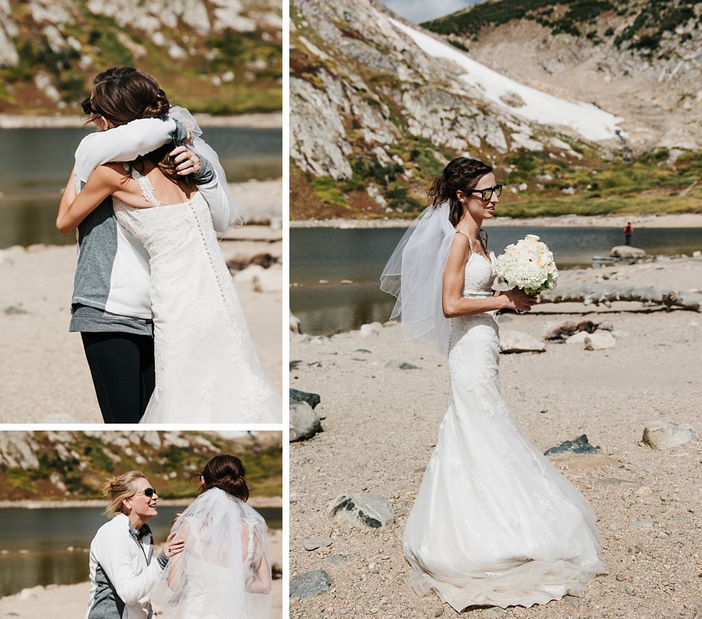 Bride at St. Mary's Glacier before her Colorado hiking elopement