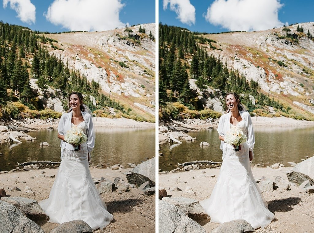 Bride laughing while waiting for ceremony to begin for her St. Mary's Glacier Elopement wedding in Colorado