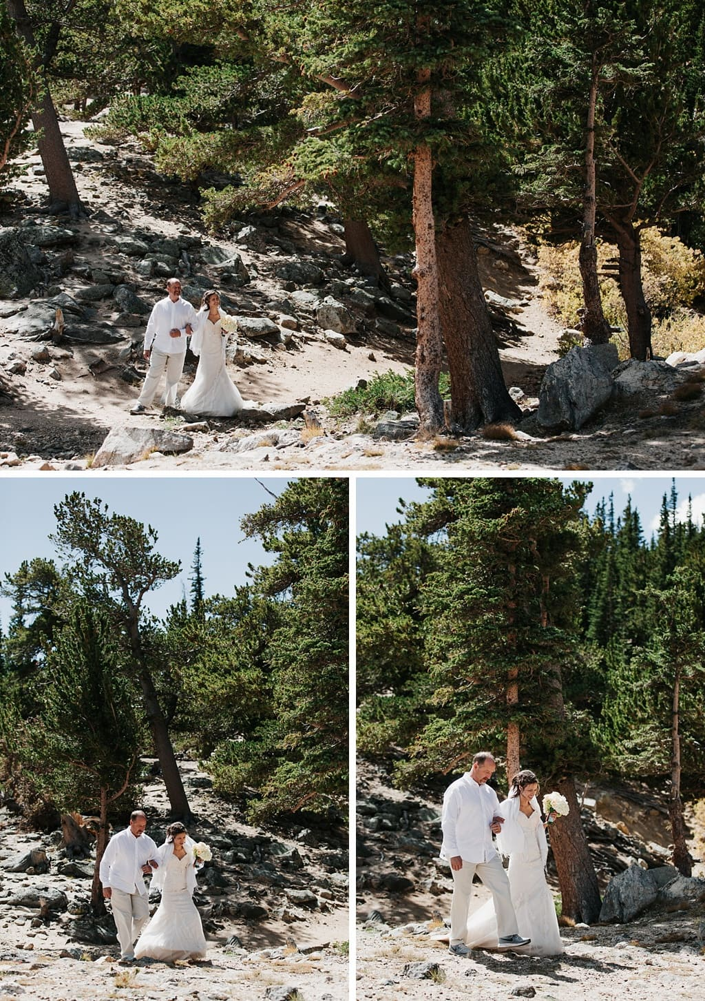 Bride and her father walking up to the ceremony site at a St. Mary's Glacier elopement wedding in Colorado
