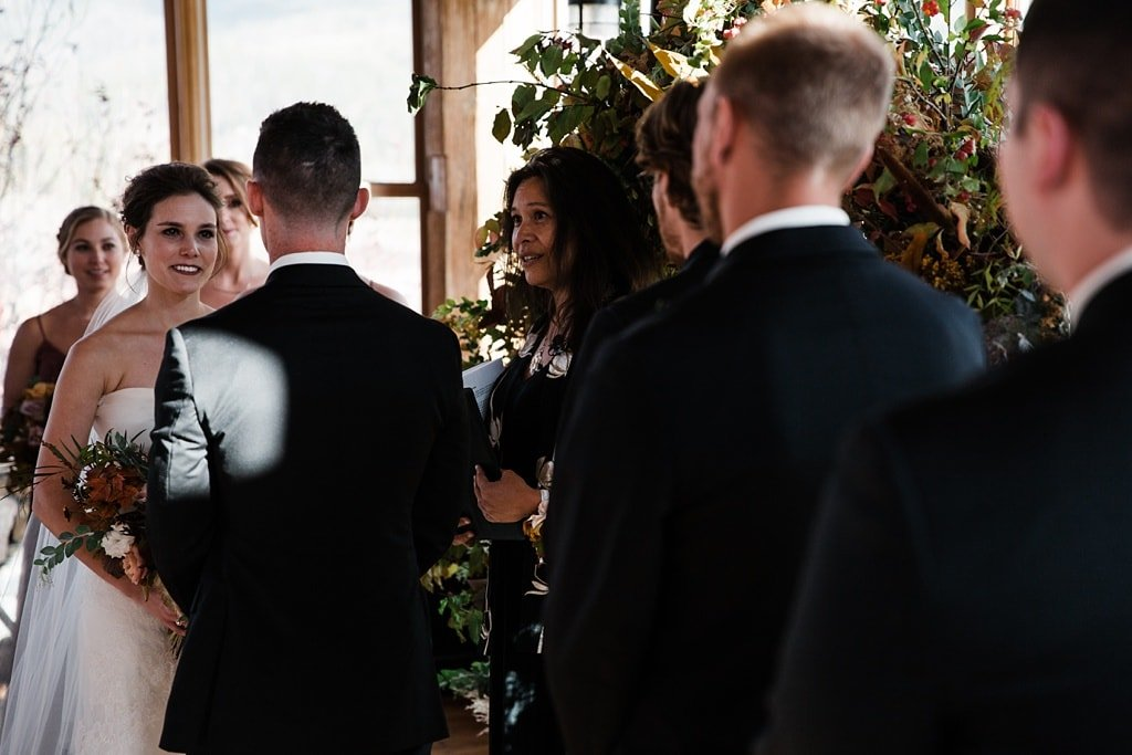 Devil's Thumb Ranch winter wedding indoor ceremony