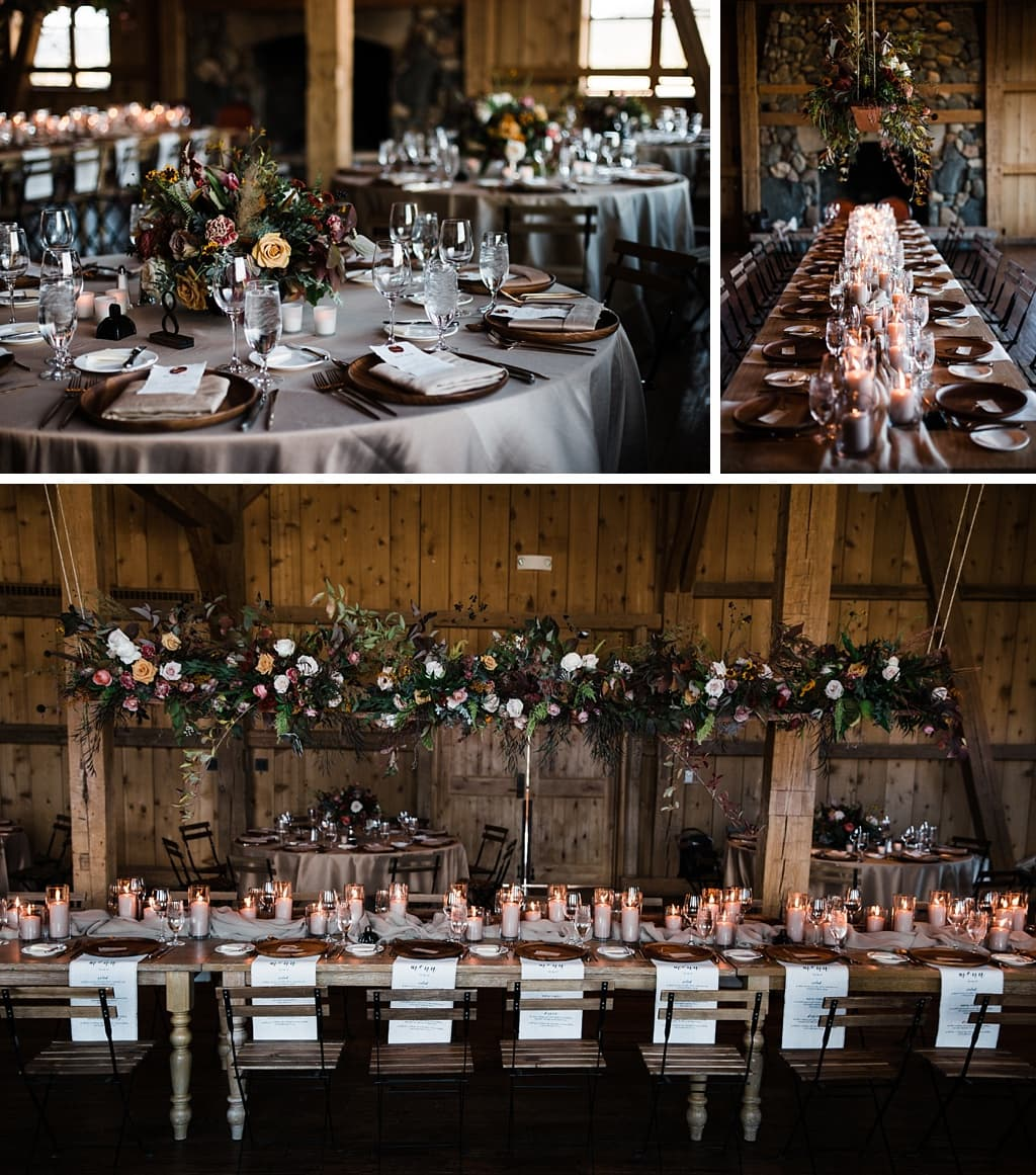 Centerpieces floral arrangements by Yonder House floral and decor Colorado wedding photography at Devil's Thumb Ranch winter wedding planning by Love This Day Events
