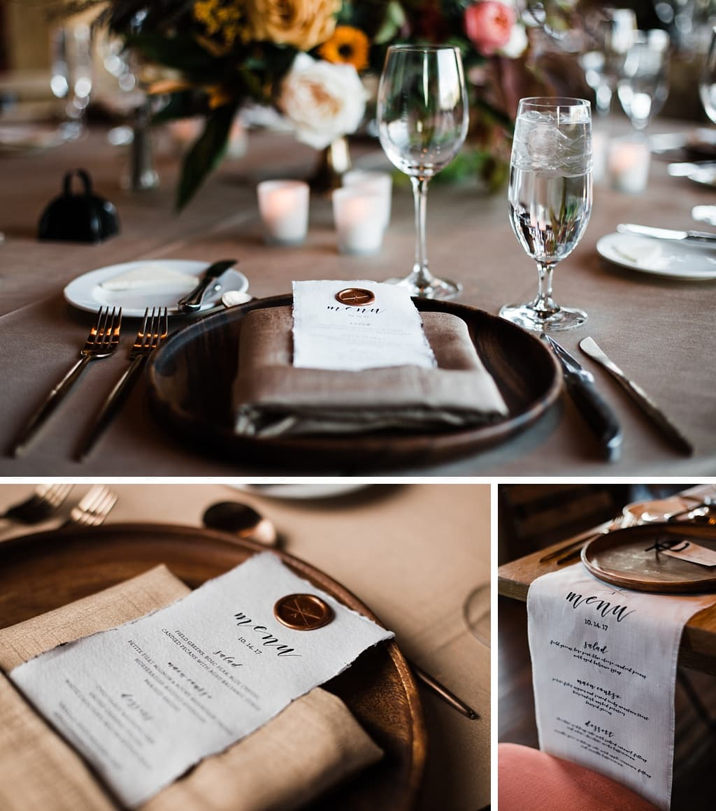 Menu cards table settings elegant winter wedding planning by Love This Day Events florals by Yonder House
