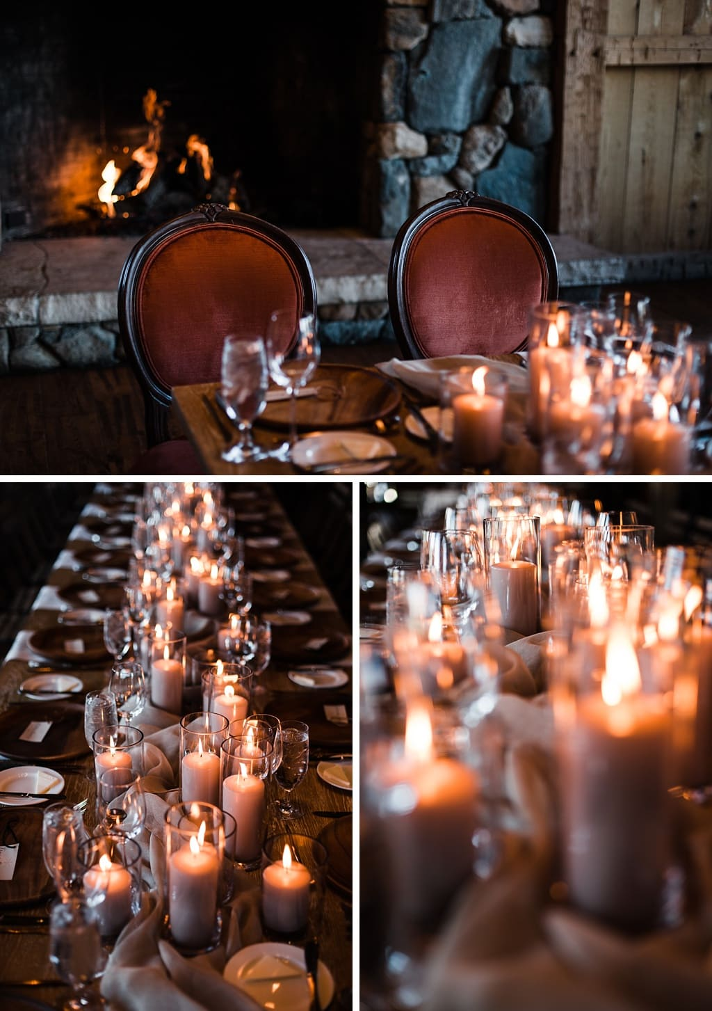 Tablescape with candles in glass containers elegant winter wedding planning by Love This Day Events florals by Yonder House