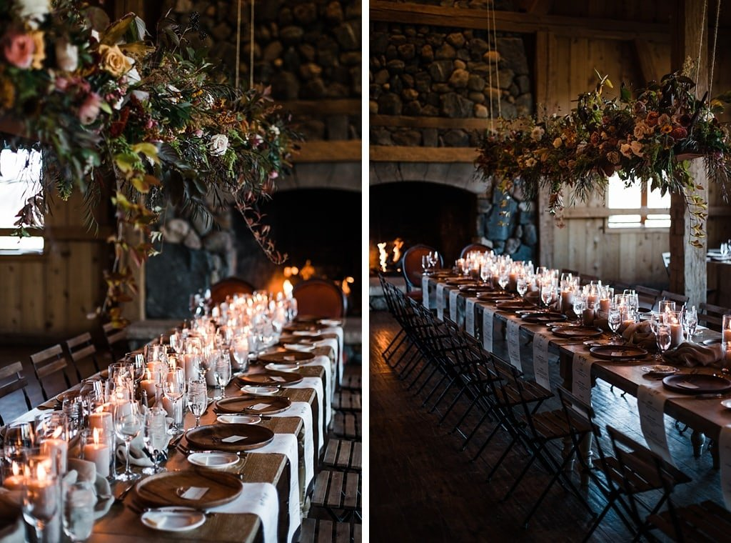 Large floral arrangement hanging over head table by Yonder House, planning by Love This Day Events, Devil's Thumb Ranch Winter Wedding