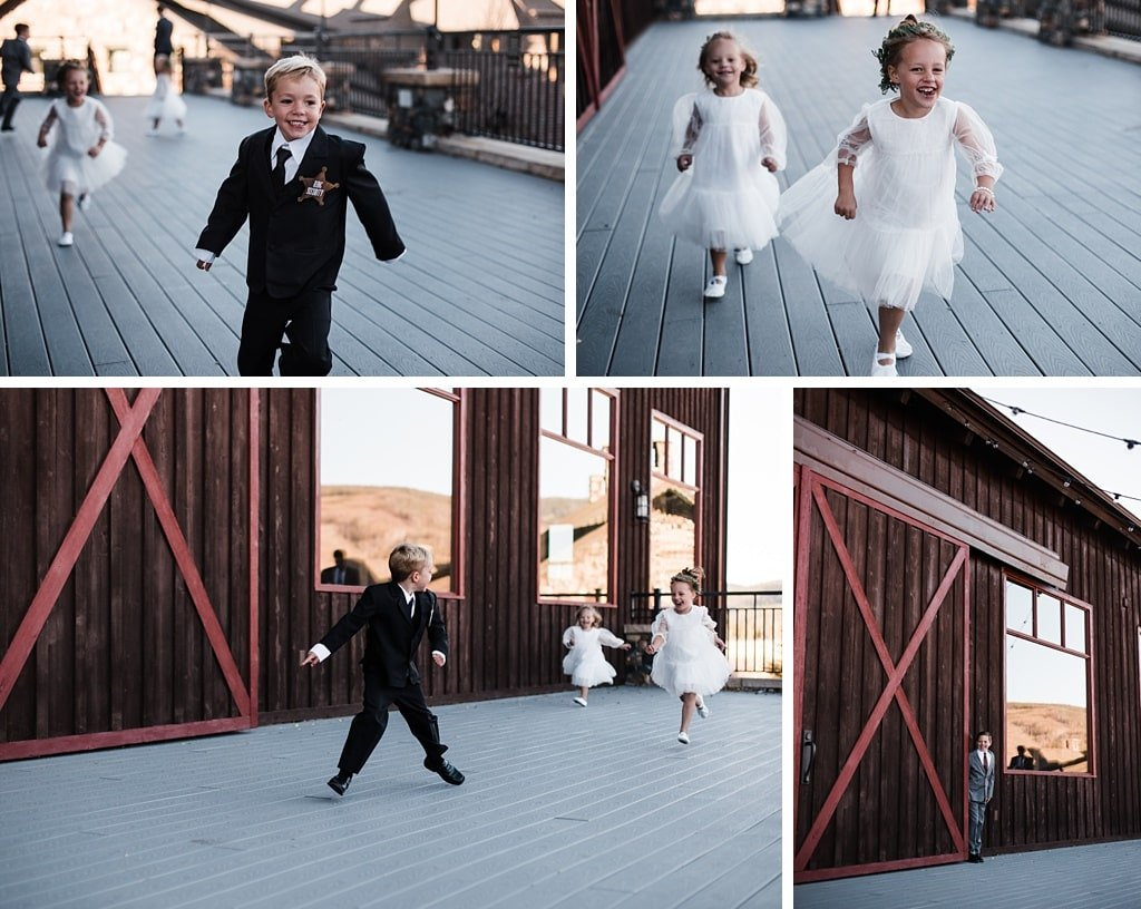 Devil's Thumb Ranch wedding children running and playing