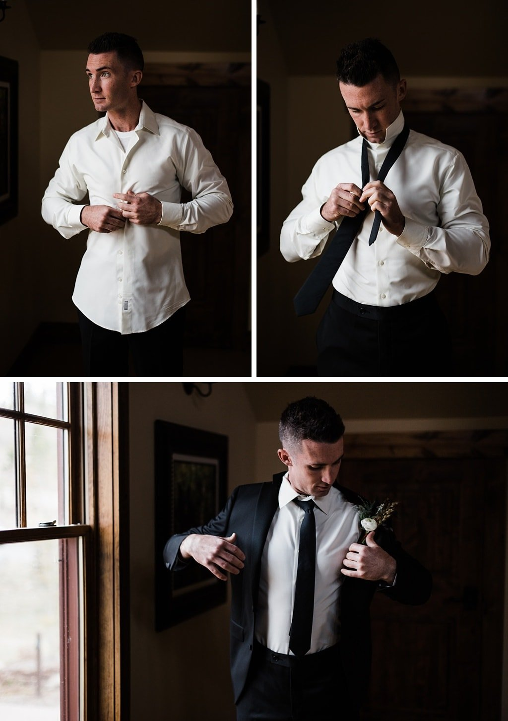 Groom getting ready for Devil's Thumb Ranch Winter Wedding Colorado photographer