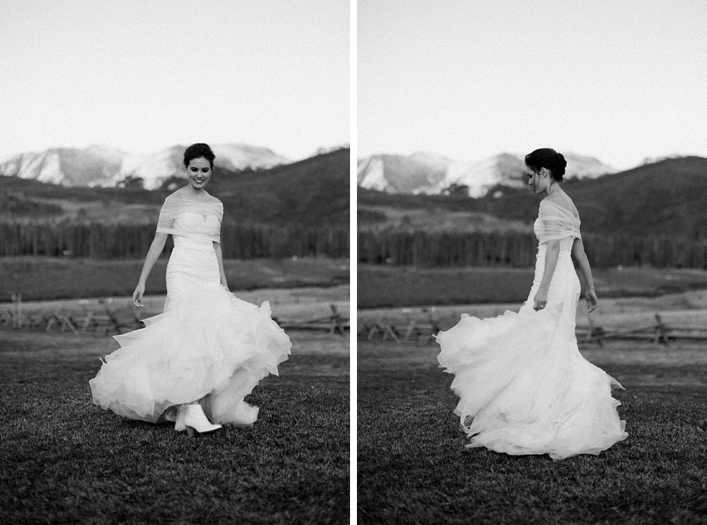 Bride portraits twirling at sunset at Devil's Thumb Ranch in Tabernash Colorado, classic photojournalistic wedding photography, Vera Wang dress, white ankle boots by SJP,