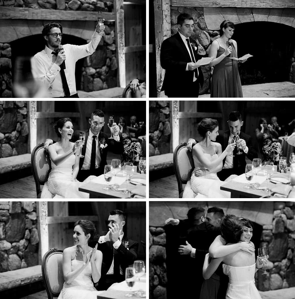 Devil's Thumb Ranch winter wedding reception speeches bride and groom laughing cheers