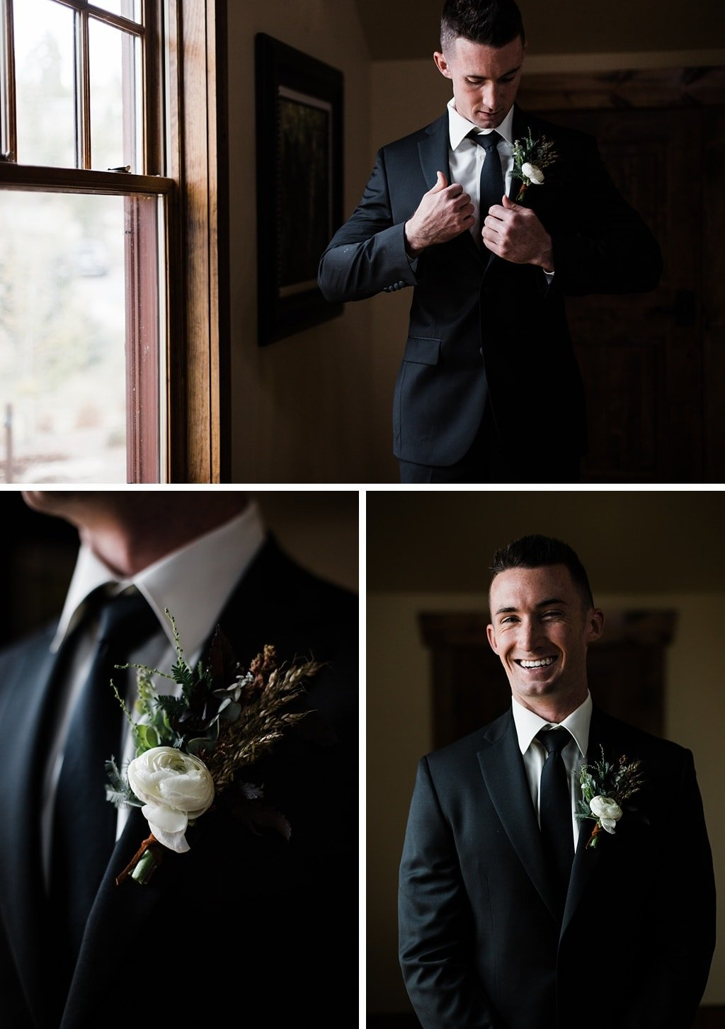 Groom getting ready at Devil's Thumb Ranch in Tabernash Colorado for winter wedding