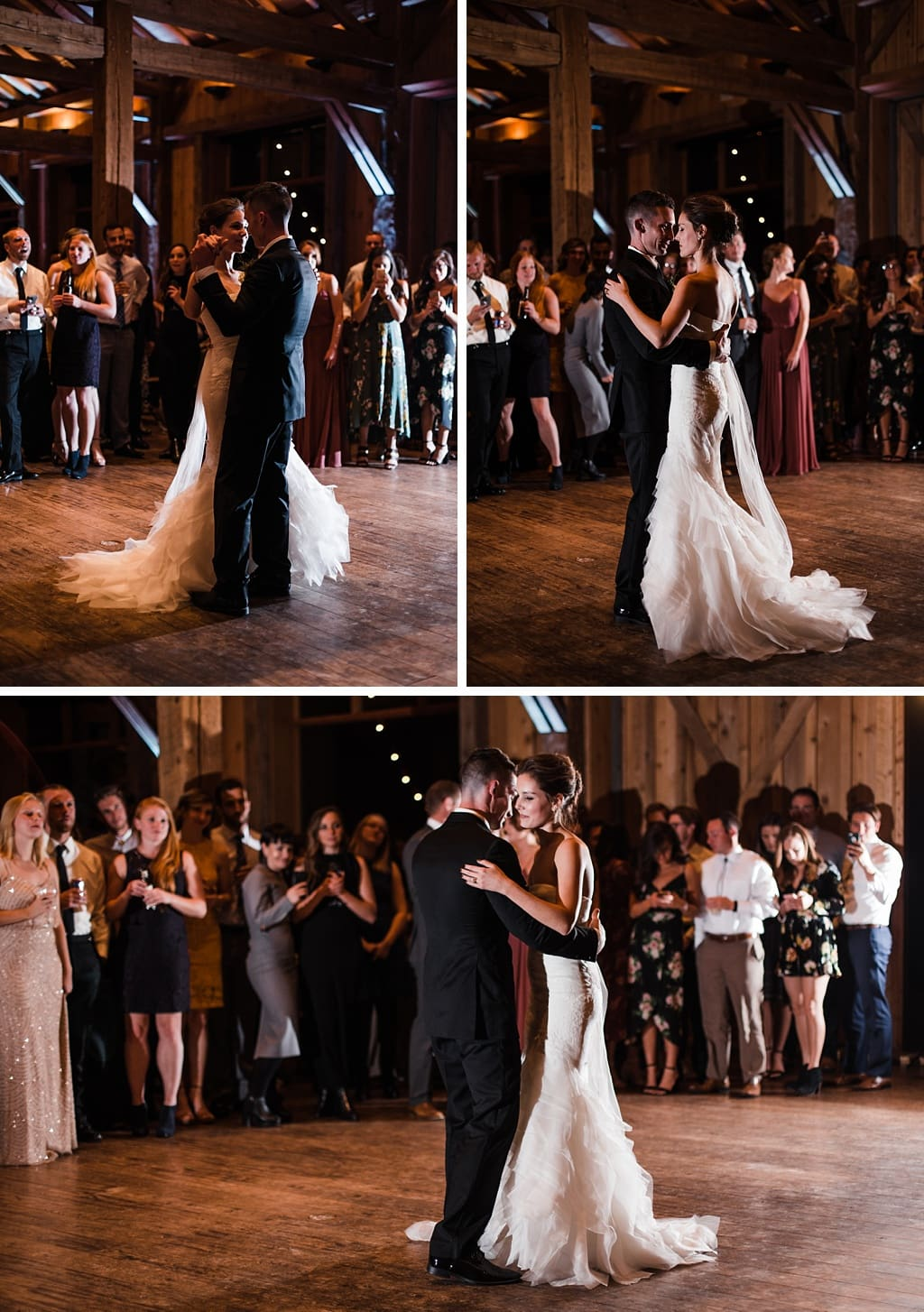 Bride and groom first dance indoor reception at Devil's Thumb Ranch in Tabernash Colorado classic wedding photography