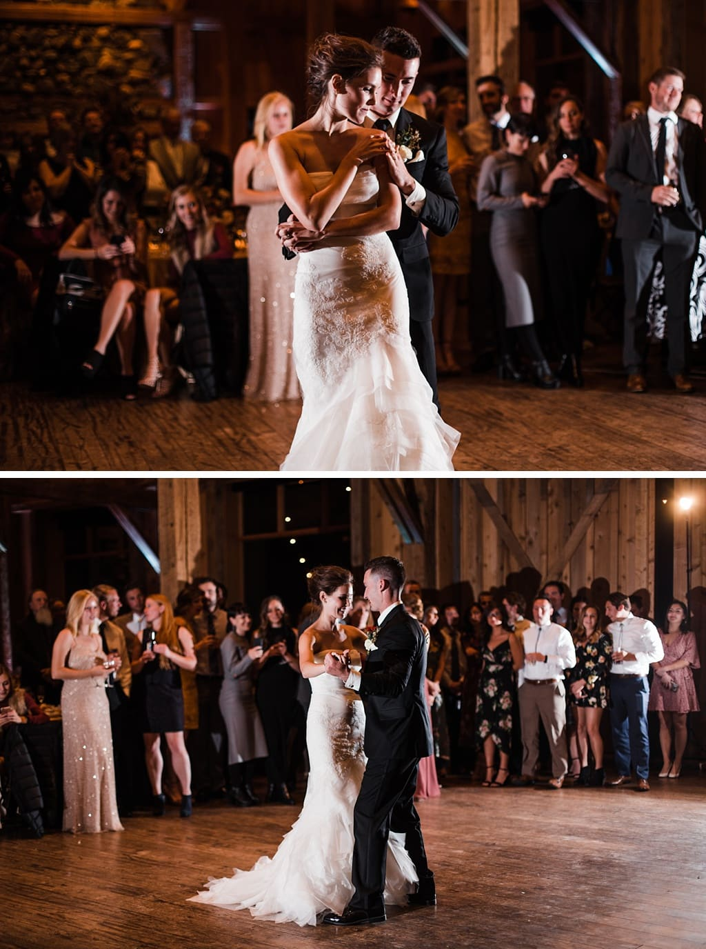 Bride and groom first dance indoor reception at Devil's Thumb Ranch