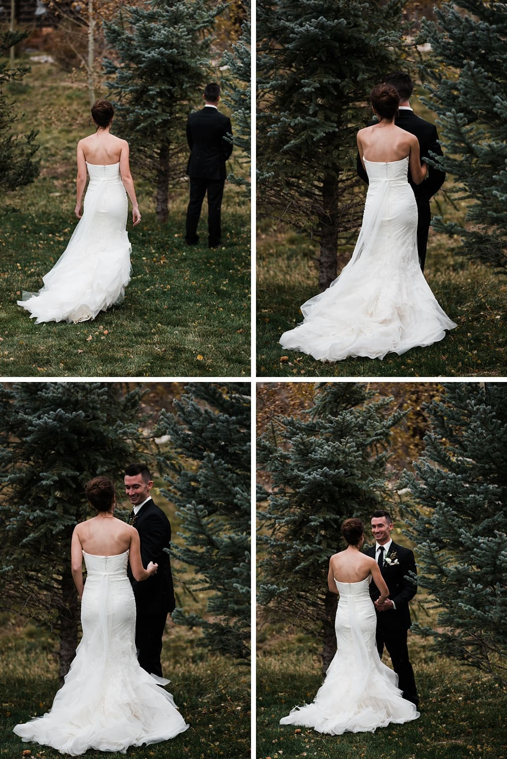 First look at Devil's Thumb Ranch winter wedding Colorado outdoor wedding photographer
