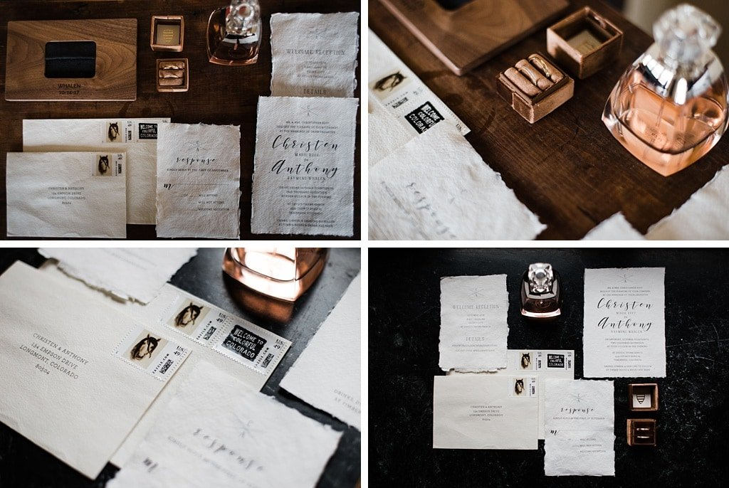 Devil's Thumb Ranch Winter Wedding Colorado Stationery Invitations Wedding Rings Perfume Details