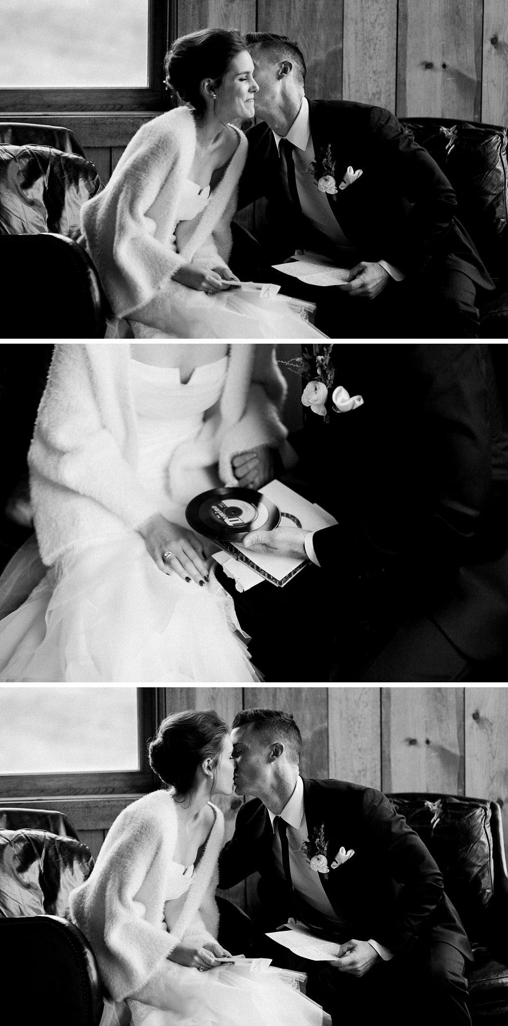 Bride and groom exchanging and reading love letters on their wedding day at Devil's Thumb Ranch in Tabernash Colorado