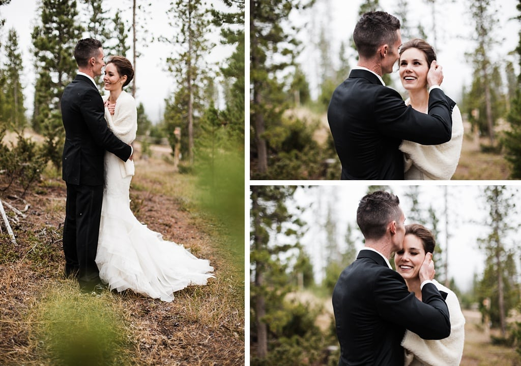 Bride and groom wedding portraits in the woods near Devil's Thumb Ranch Colorado
