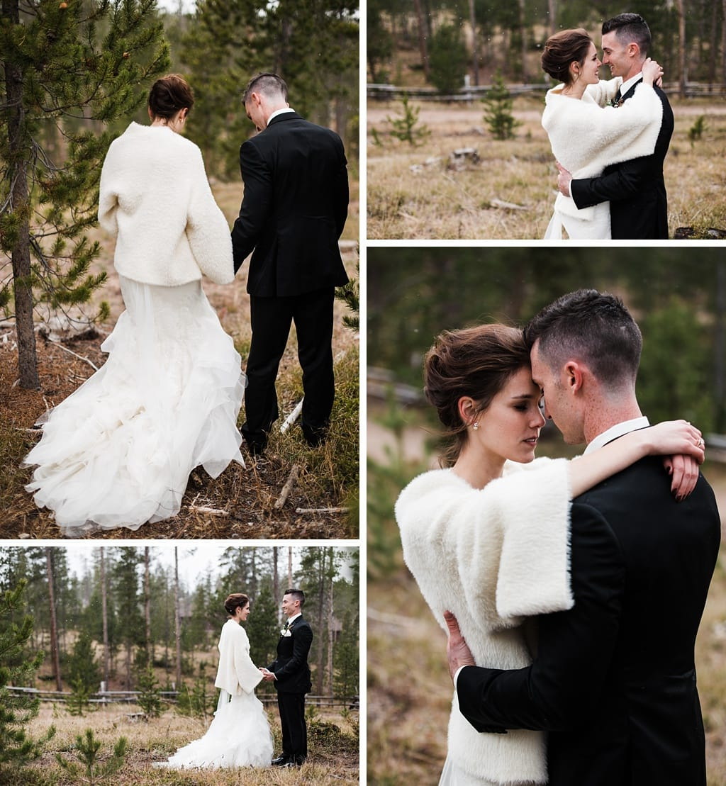 Bride and groom wedding portraits for Devil's Thumb Ranch winter wedding photography