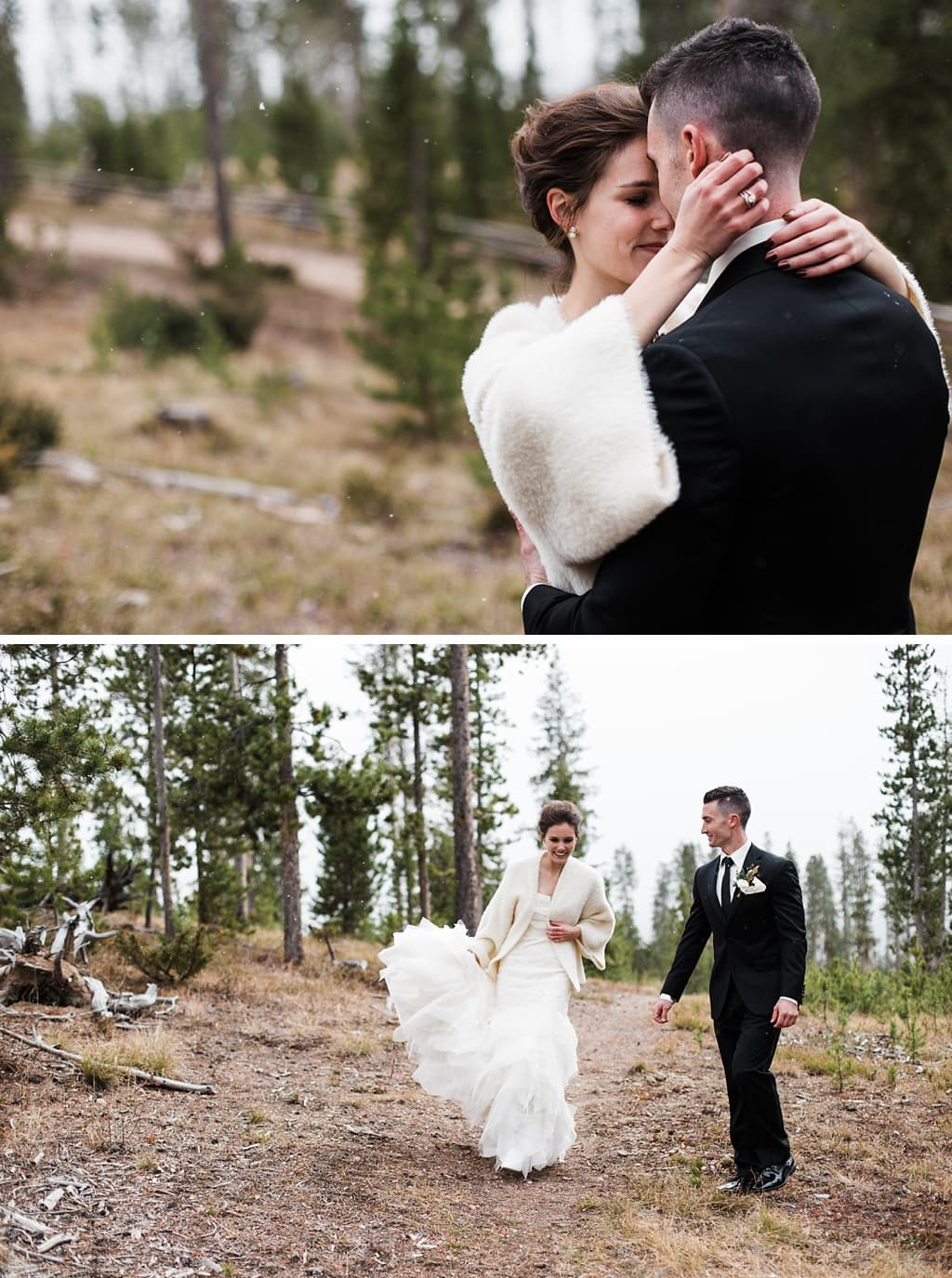 Bride and groom wedding portraits in the woods near Devil's Thumb Ranch with winter snow