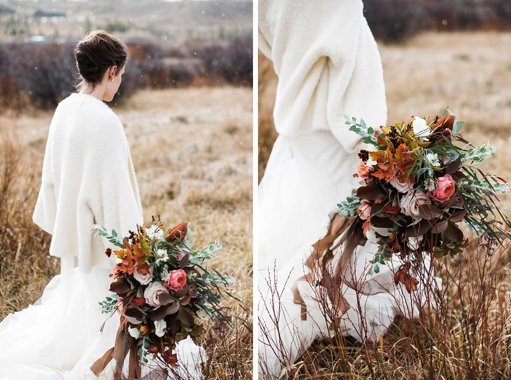 Bride carrying oversized muted neutrals bouquet by Yonder House at Devil's Thumb Ranch winter wedding
