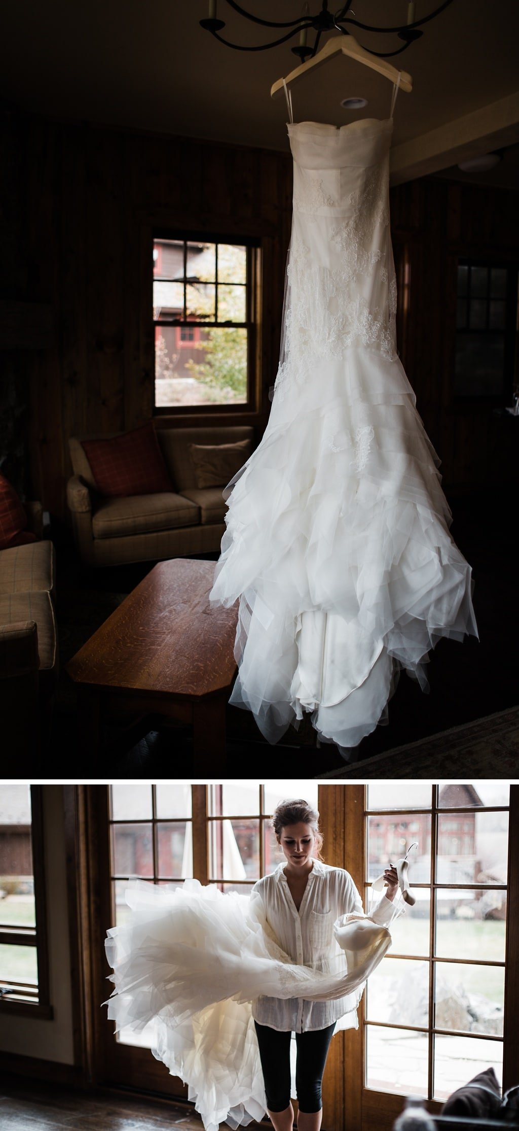 Vera Wang wedding dress at Devil's Thumb Ranch
