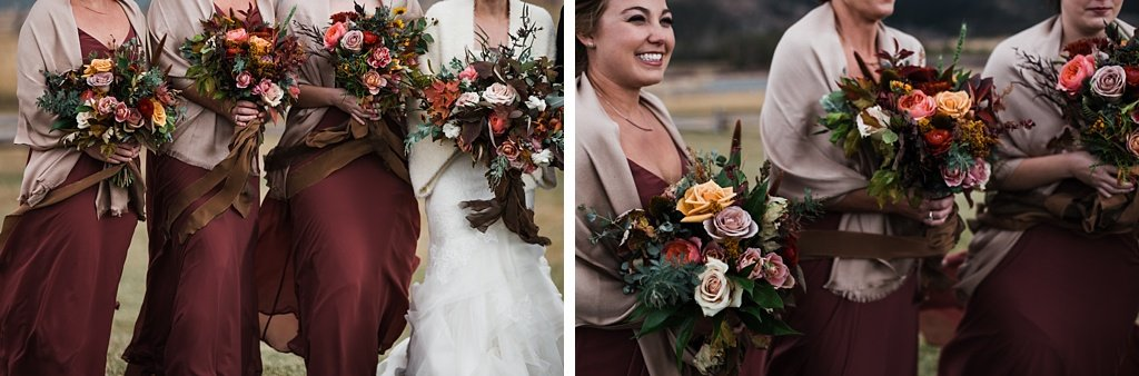 Bridesmaids in muted wine colored dresses with bouquets by Yonder House floral