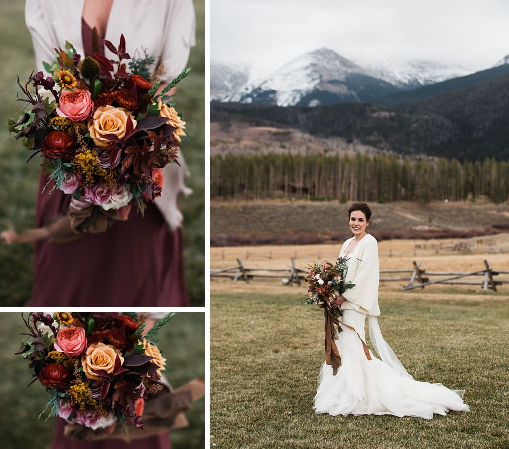 Bride with bridesmaids at Devil's Thumb Ranch, muted wine colored dresses, bouquets by Yonder House Colorado wedding photography