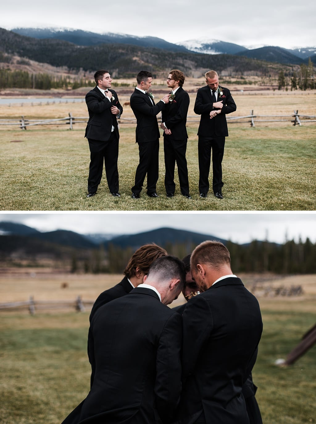 Groom with groomsmen goofing around, praying