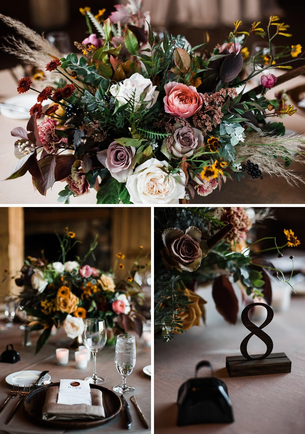 Centerpieces floral arrangements by Yonder House floral and decor Colorado wedding photography at Devil's Thumb Ranch winter wedding