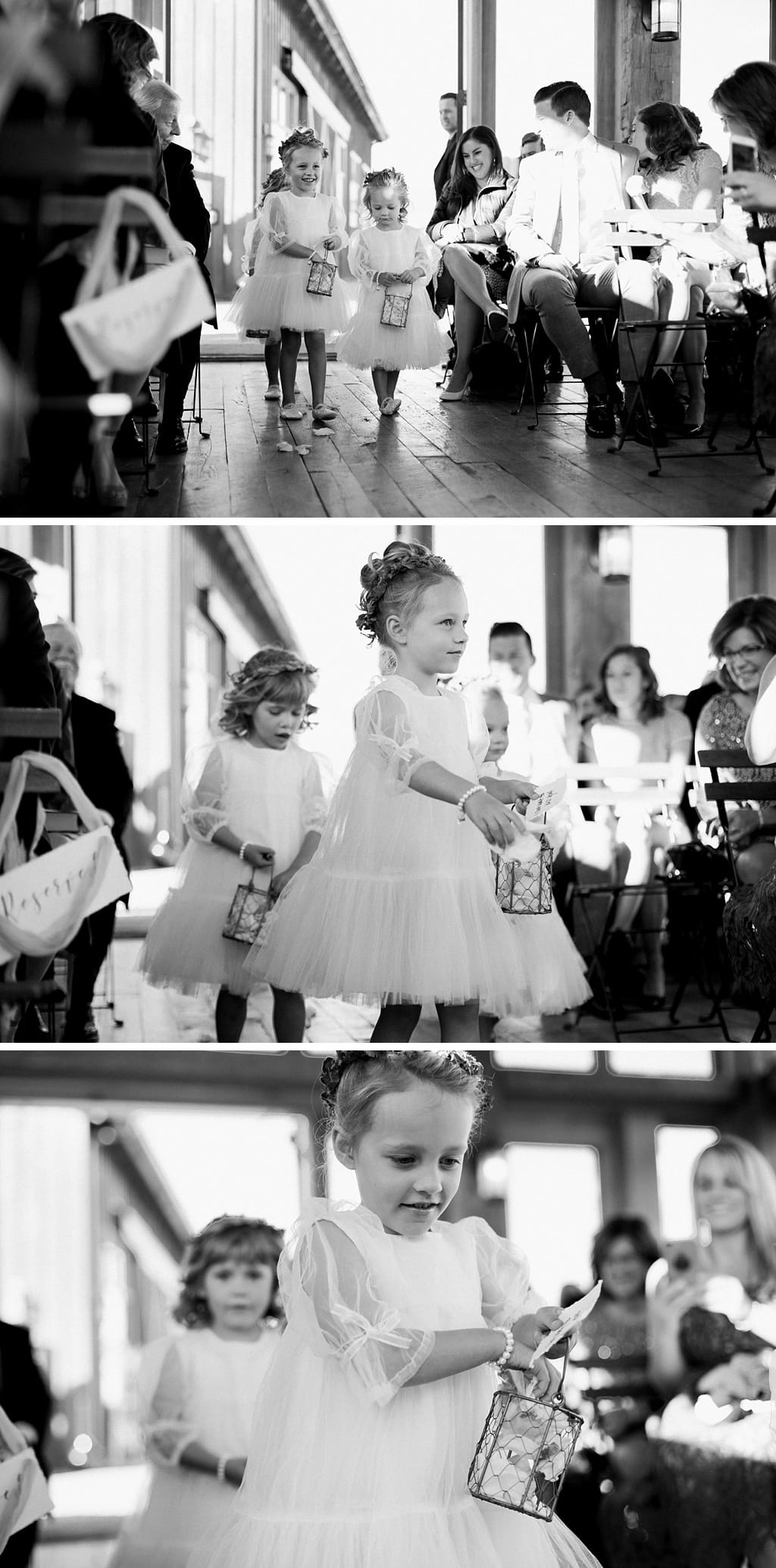 Wedding ceremony at Devil's Thumb Ranch winter wedding flower girls