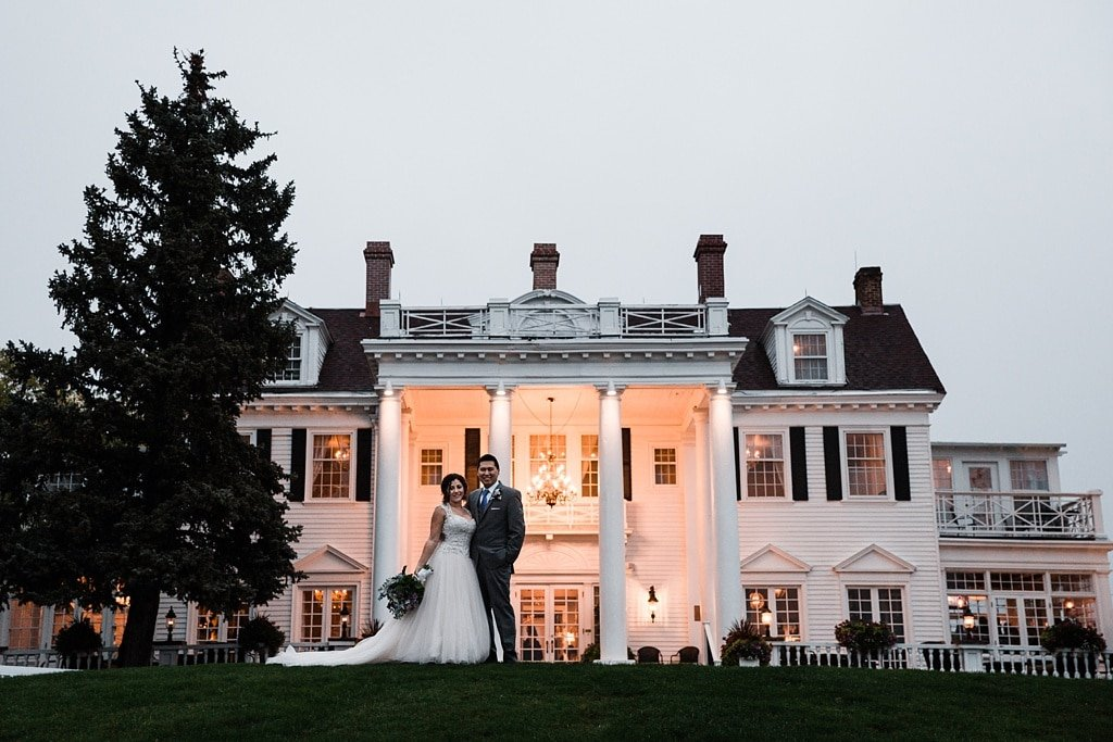 The Manor House wedding venue Littleton Colorado, moody wedding photography in rain and fog, dress with long train