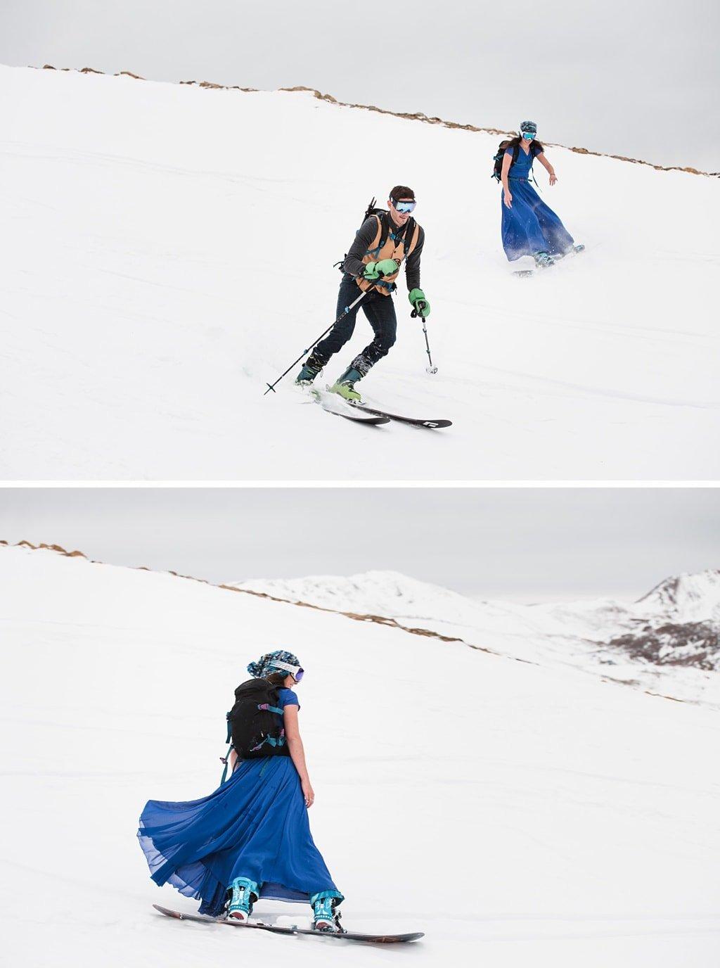 Backcountry Skiing Engagement Colorado Adventure Wedding Photographer Loveland Pass