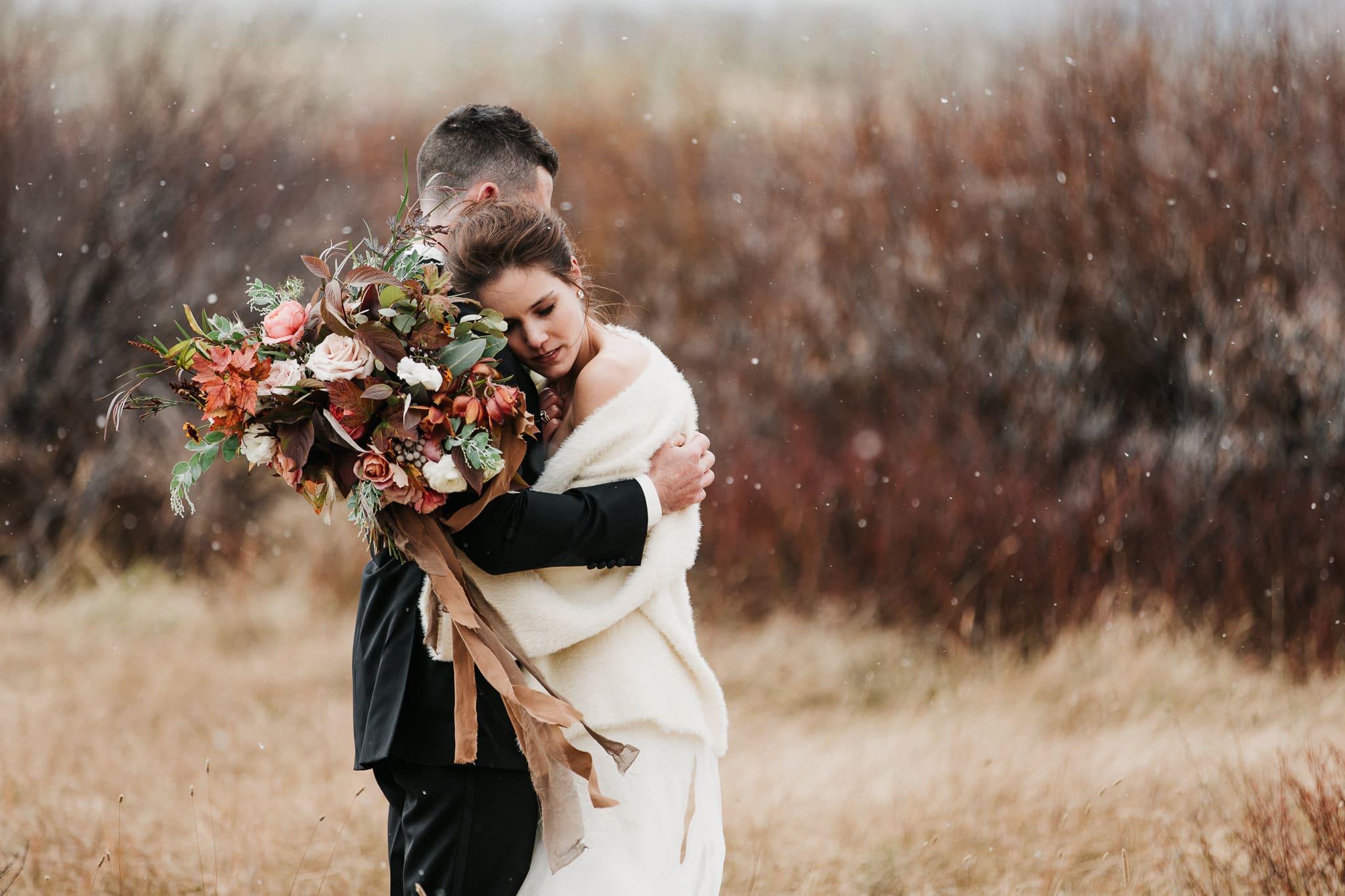 Colorado adventure wedding photographer Devil's Thumb Ranch Winter Wedding