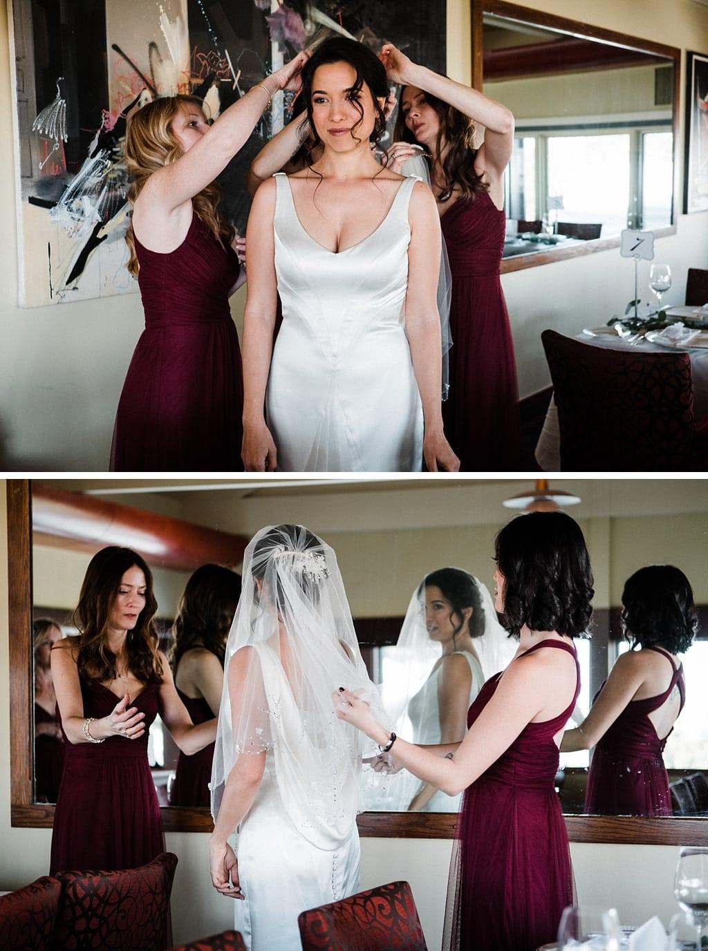 Bride getting ready at Flagstaff House wedding venue restaurant Boulder Colorado