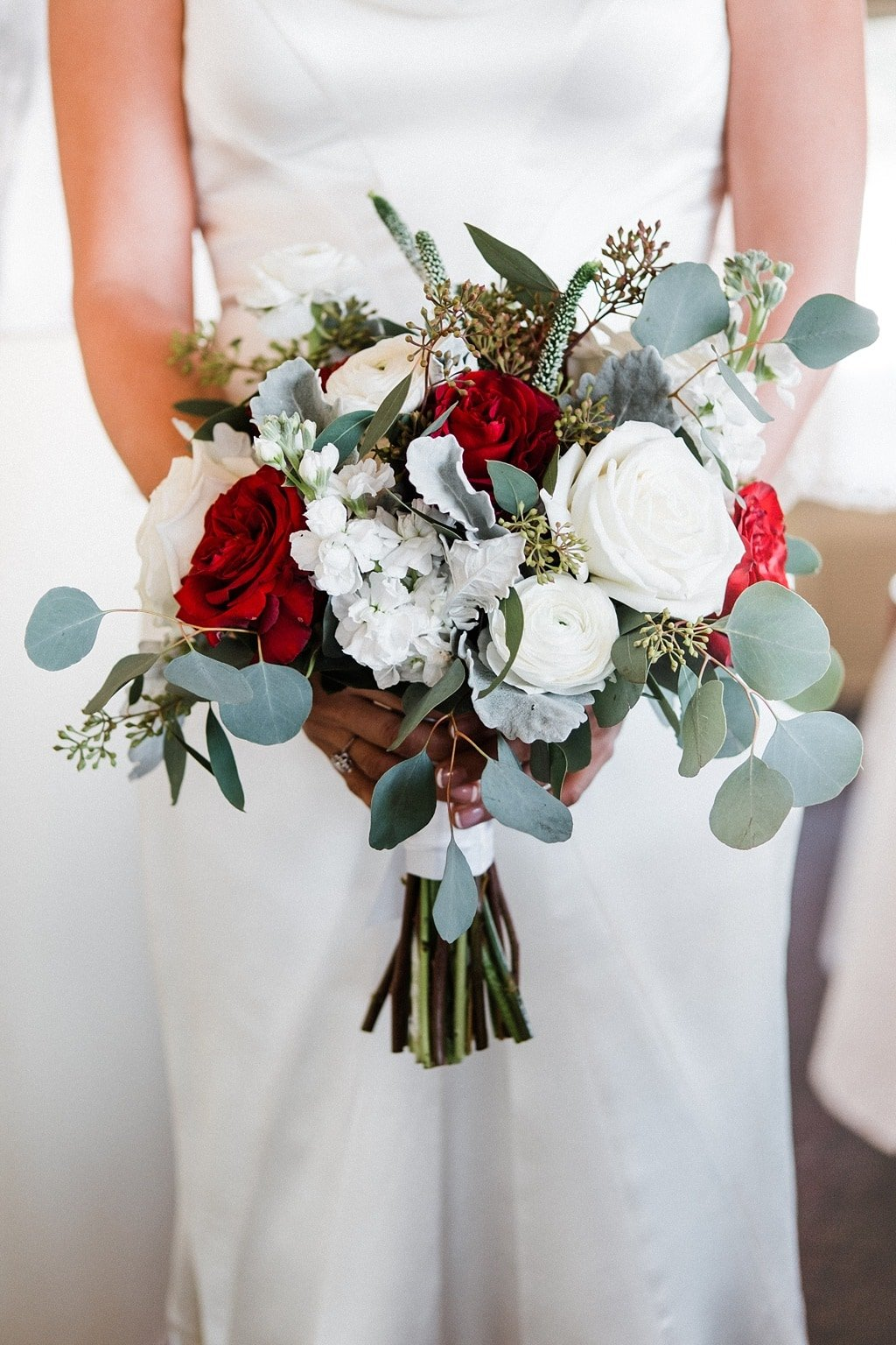 Bride with wedding bouquet by Fiori Flowers in Boulder Colorado