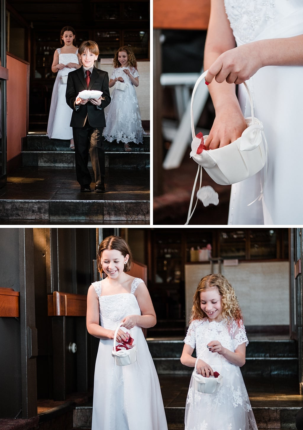 Flower girls and ring bearer walking into ceremony at Flagstaff House wedding in Boulder Colorado