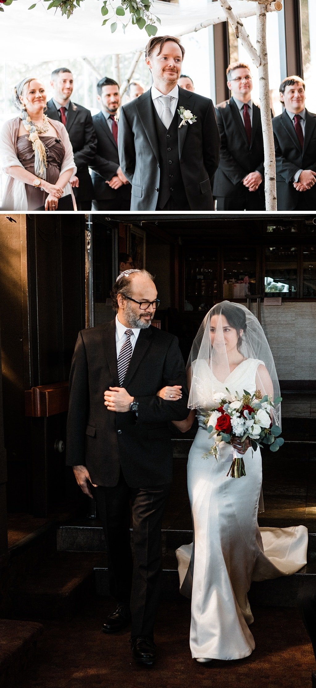 Bride and her father walking into ceremony at Flagstaff House wedding in Boulder Colorado, Jewish wedding ceremony