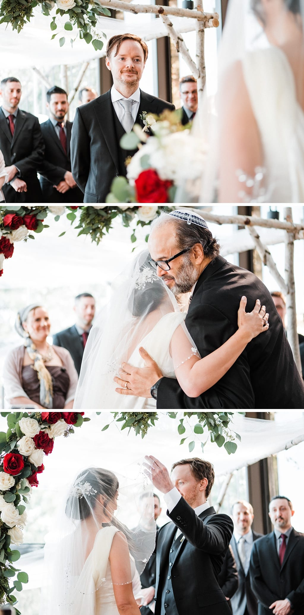 Groom waiting for bride under chuppah at Flagstaff House wedding in Boulder, Colorado, Jewish wedding ceremony