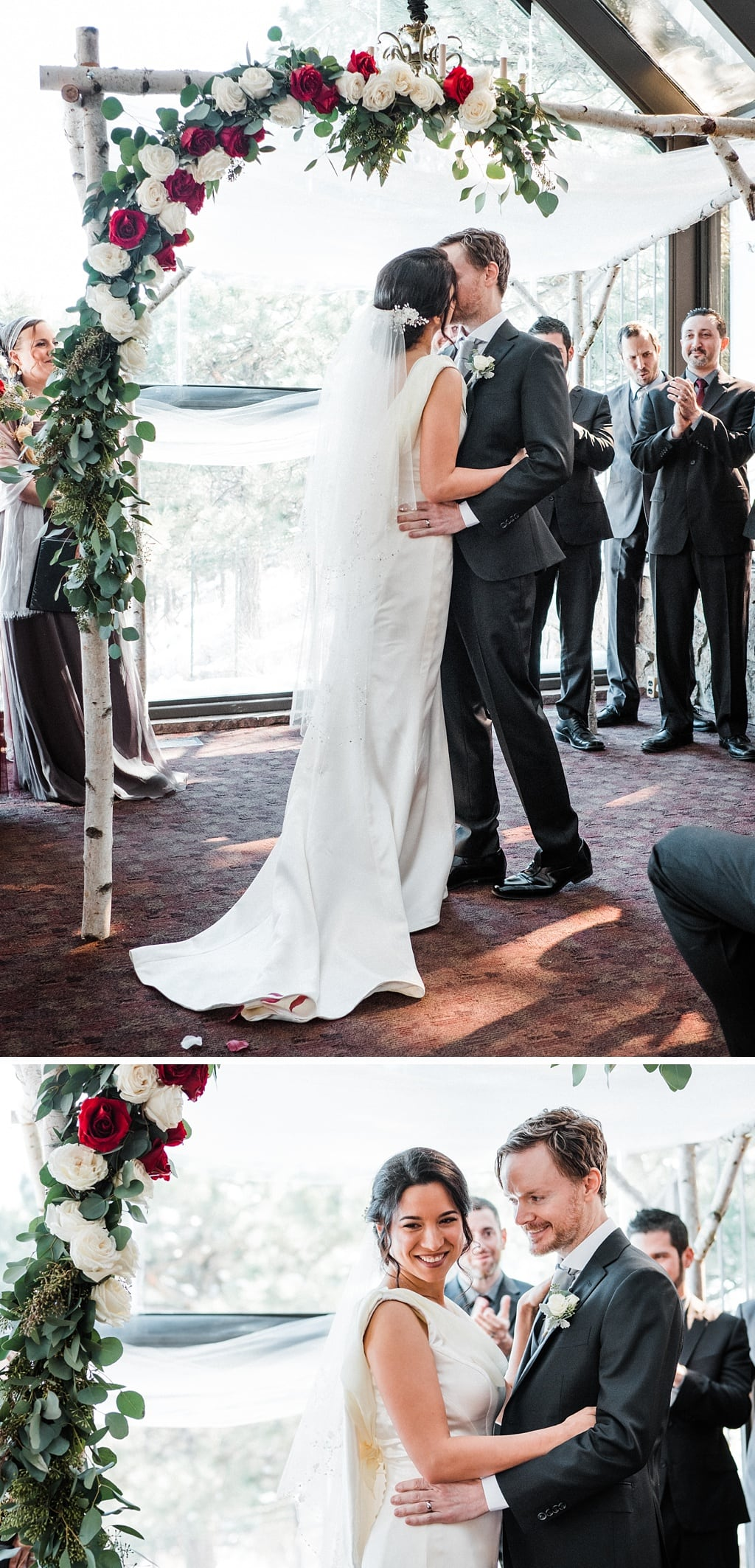 Jewish ceremony at Flagstaff House wedding in Boulder, Colorado, bride and groom first kiss