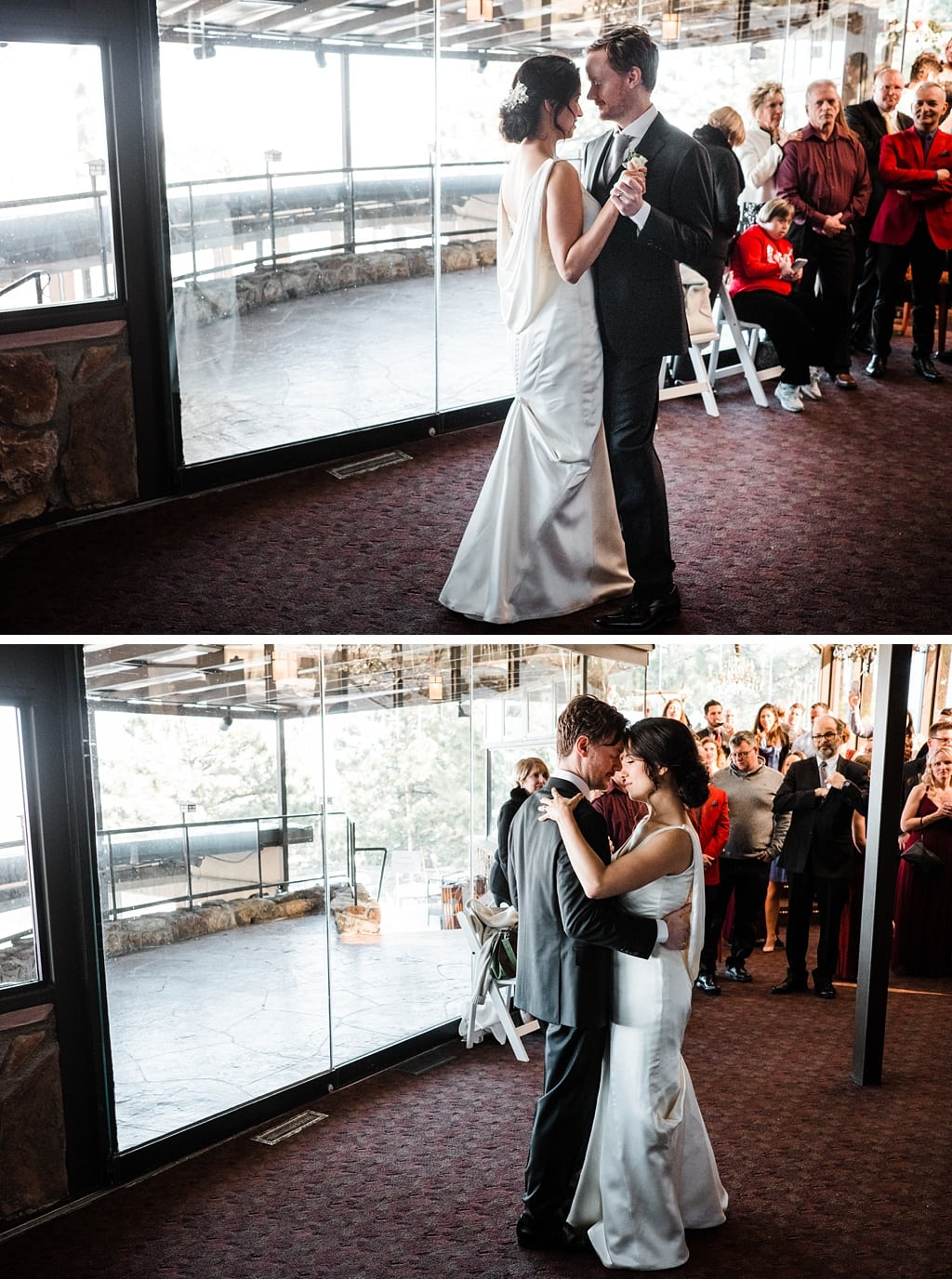 Bride and groom first dance at Flagstaff House Restaurant in Boulder, Colorado