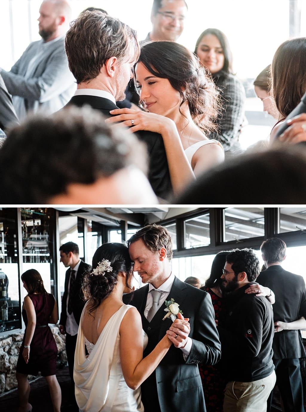 Bride and groom dancing at Flagstaff House wedding in Boulder, Colorado