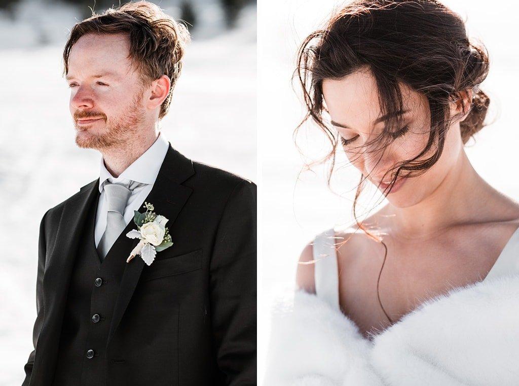 Chautauqua wedding photography winter snow bride and groom, Boulder Colorado mountain wedding photography