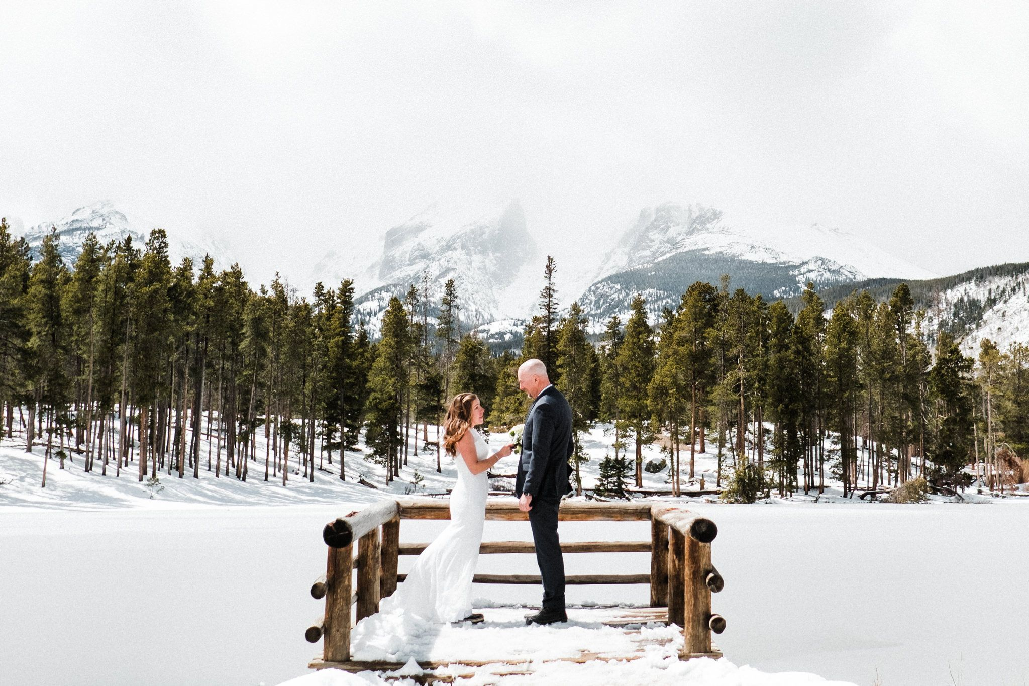 Rocky Mountain National Park Sprague Lake Winter Elopement Photography Colorado, best month to elope in Colorado