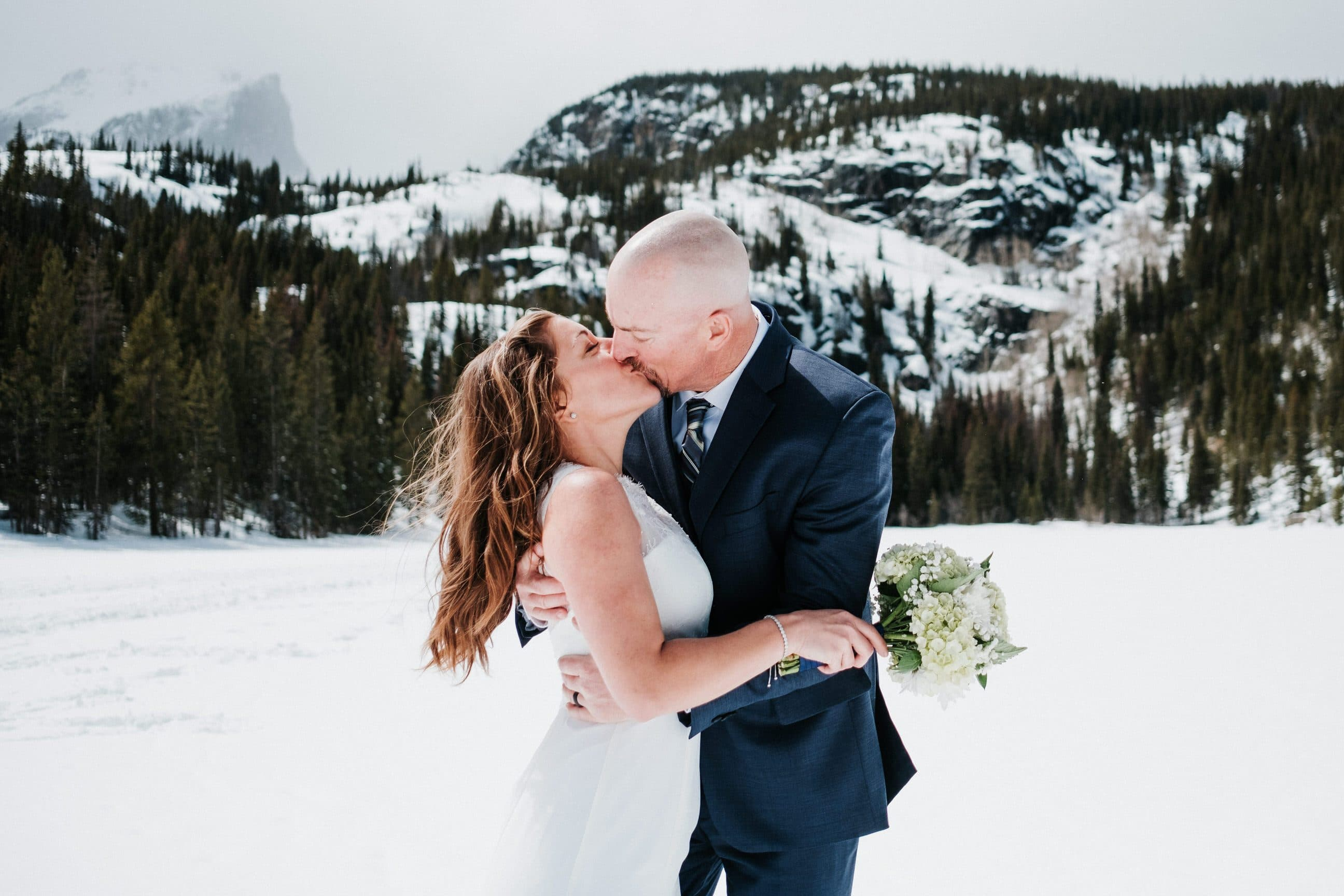 Sprague Lake hiking elopement, Rocky Mountain National Park Bear Lake winter hiking adventure elopement photography, Estes Park wedding photographer