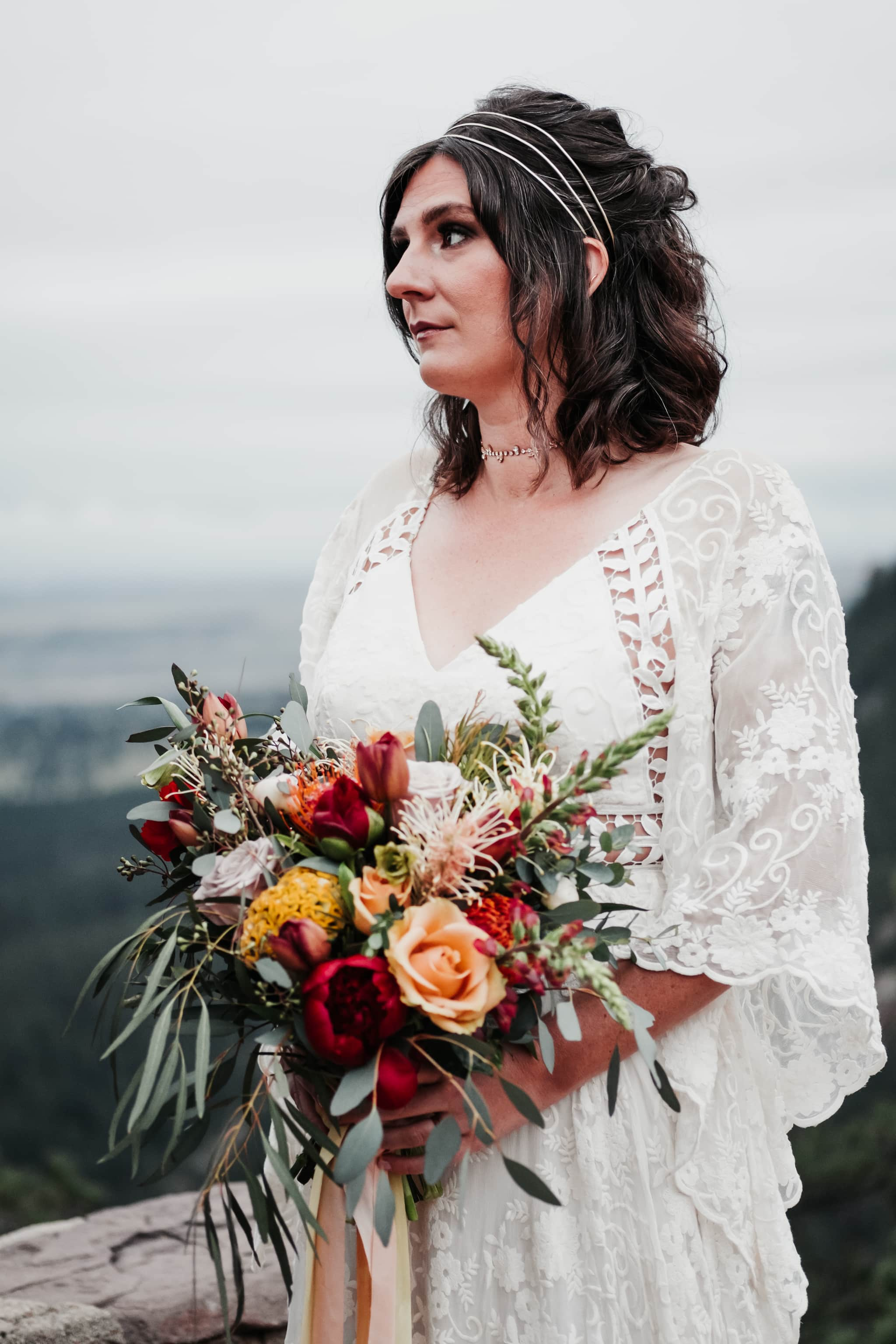 Sunrise Amphitheater Elopement, Flagstaff Boulder Colorado wedding photographer, bouquet by Fawns Leap, dress by Rue De Seine Bridal