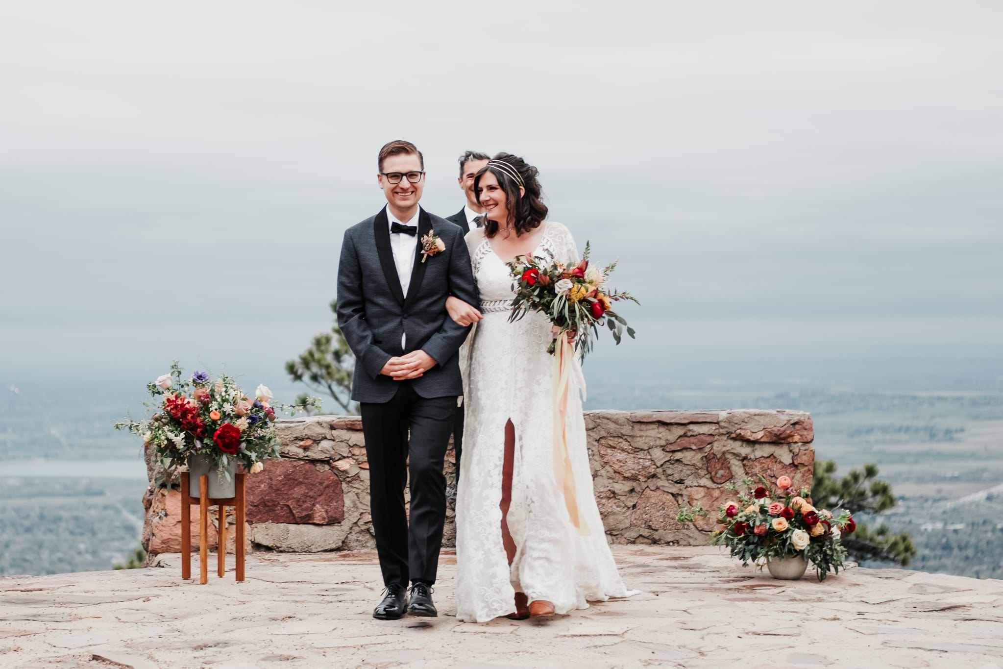 Sunrise Amphitheater Elopement, Boulder wedding photographer, wedding dress by Rue de Seine bridal